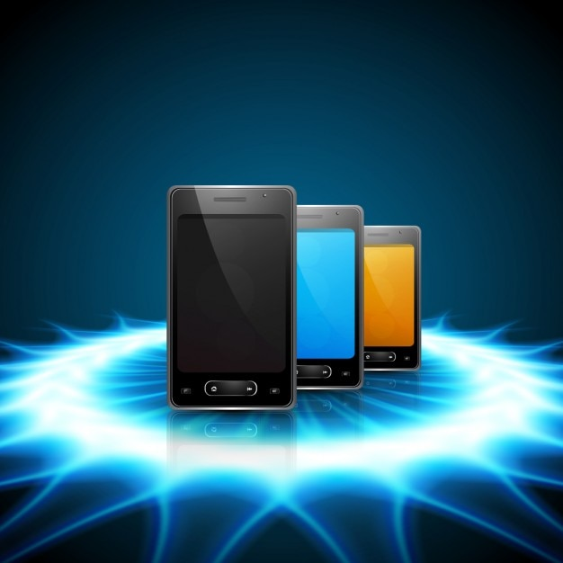 Mobile Phones On Shiny Background Vector Free Download