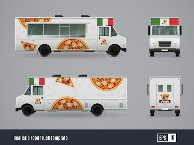 Mobile pizzeria truck Free Vector