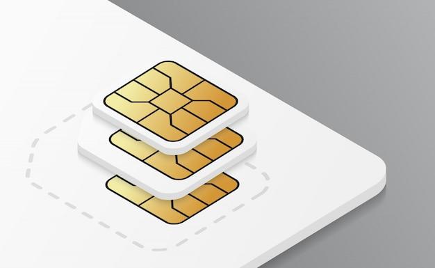 モバイルプラスチックsimカードモックアップ。 Premiumベクター