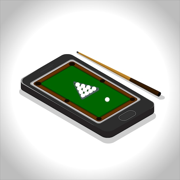 Mobile Pool Game Vector Premium Download - Mobile pool table