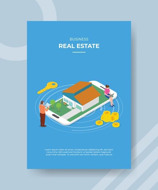 Immobili mobili con smartphone ed edifici residenziali in cerca di elenco per volantino modello e banner di stampa Vettore gratuito