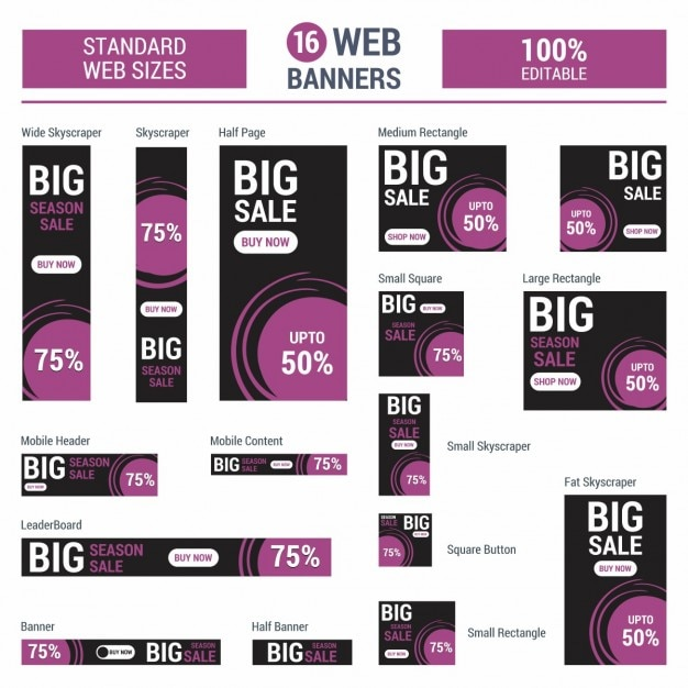 Mobile sale banner collection Free Vector