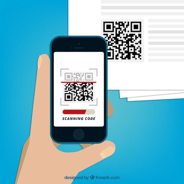 Mobile scanning qr code background Free Vector