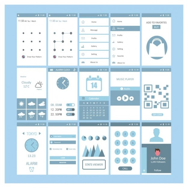 Mobile screen templates design Free Vector