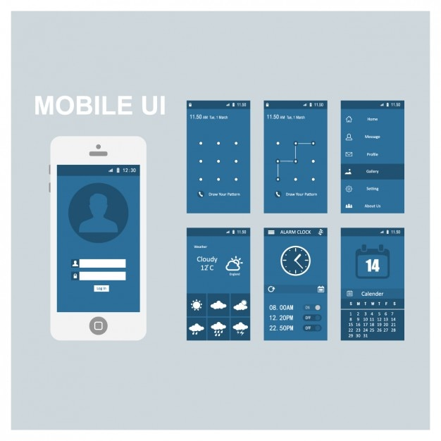 free mobile site template download - mobile screen templates vector free download
