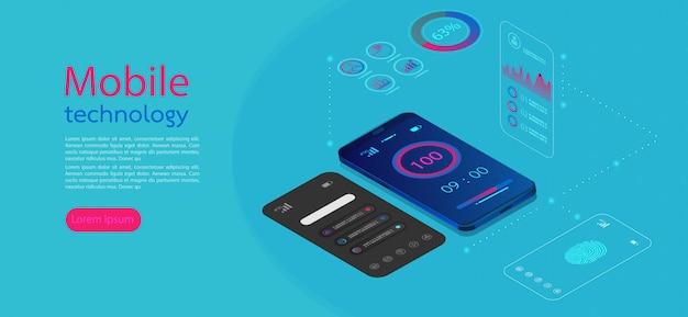 Mobile screens modern infographic Premium Vector