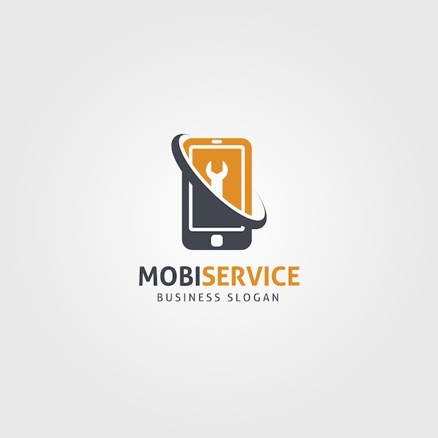 Mobile service logo template Premium Vector