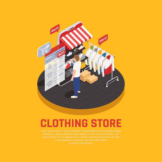 Mobile shopping concept with clothing store symbols isometric Free Vector
