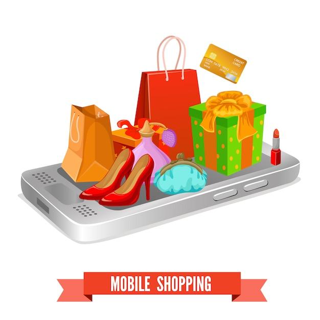 Design dello shopping mobile Vettore gratuito