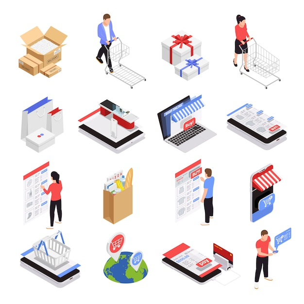 Mobile shopping icons set with ecommerce symbols isometric isolated Free Vector