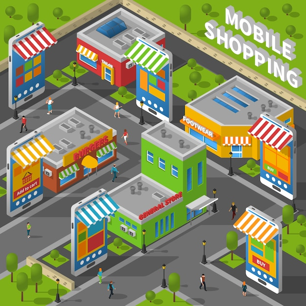 Mobile shopping isometric Free Vector