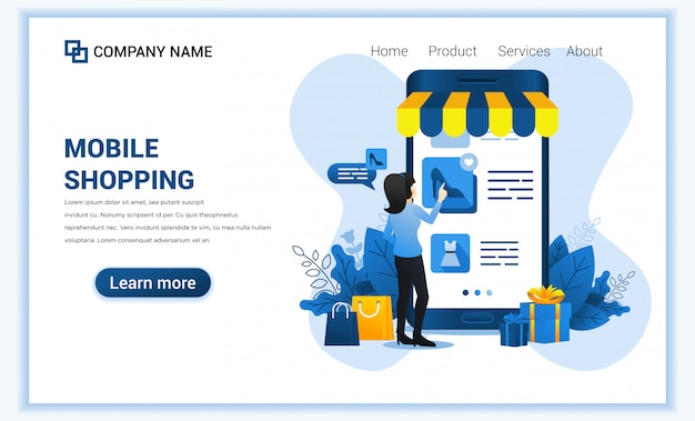 Mobile shopping  with giant mobile phone and woman choosing products. Premium Vector