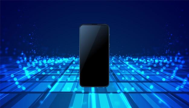 Mobile smartphone technology digital blue background Free Vector