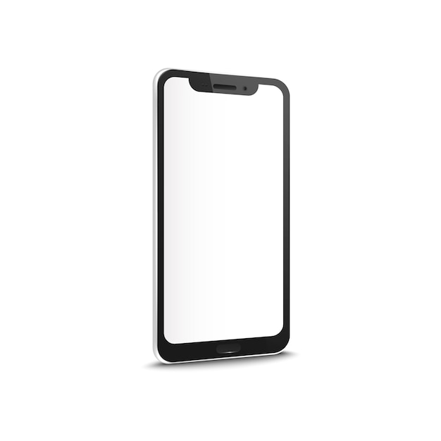 Mobile or smartphone with blank touch screen realistic mockup  isolated on white background. concept of contact business or people communication device. Premium Vector