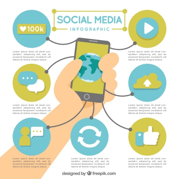 Mobile and social media infographic elements Free Vector
