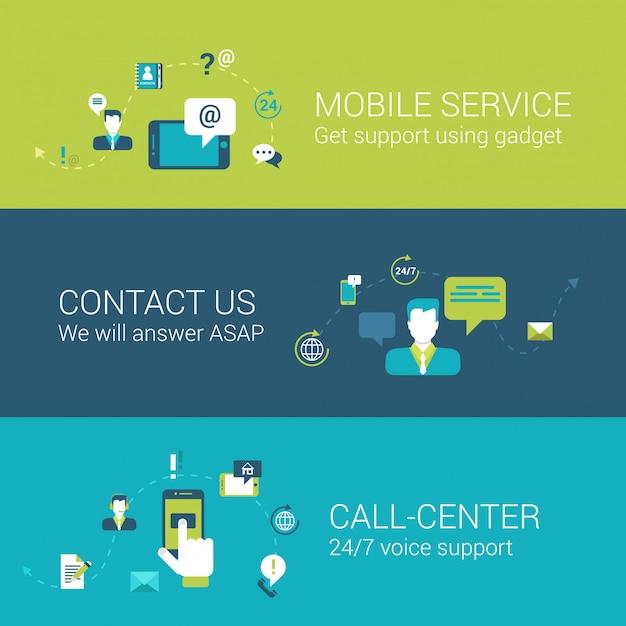 Le icone piane di concetto della call center del contatto di servizio mobile di sostegno hanno messo le illustrazioni Vettore gratuito