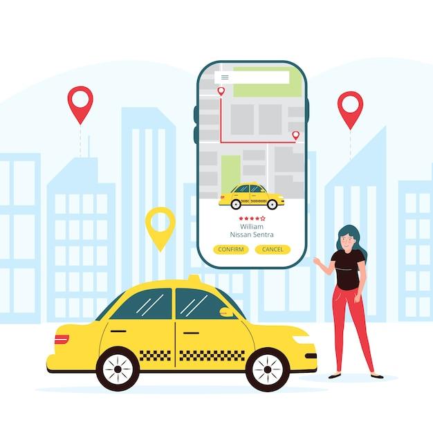 Mobile taxi app concept Free Vector