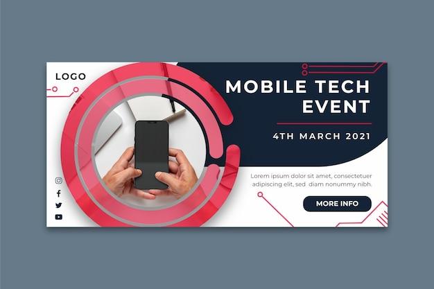 Banner orizzontale di tecnologia mobile Vettore gratuito