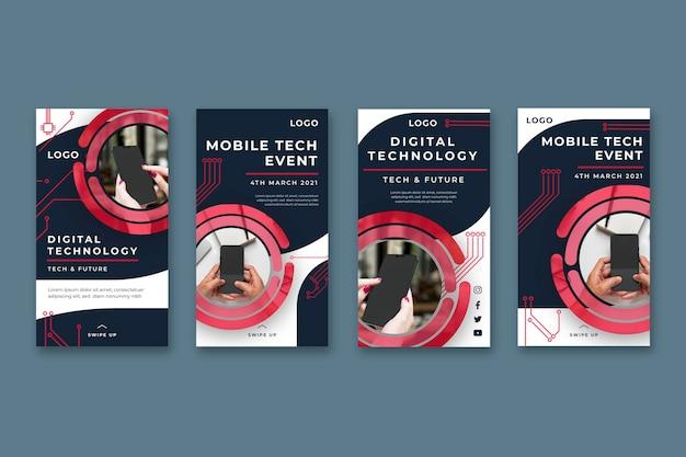 Mobile tech instagram stories collection Premium Vector