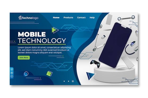 モバイル技術のランディングページ Premiumベクター