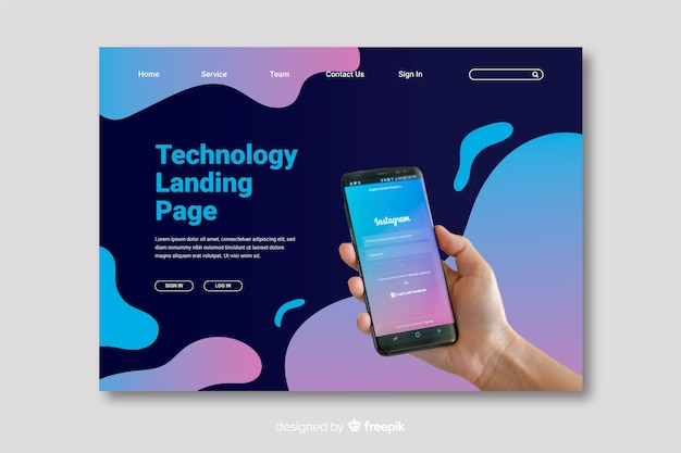 Mobile technology landing page Free Vector