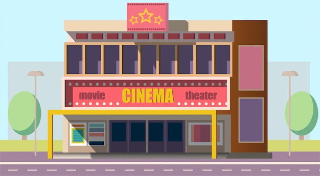 Mobile theater building Free Vector