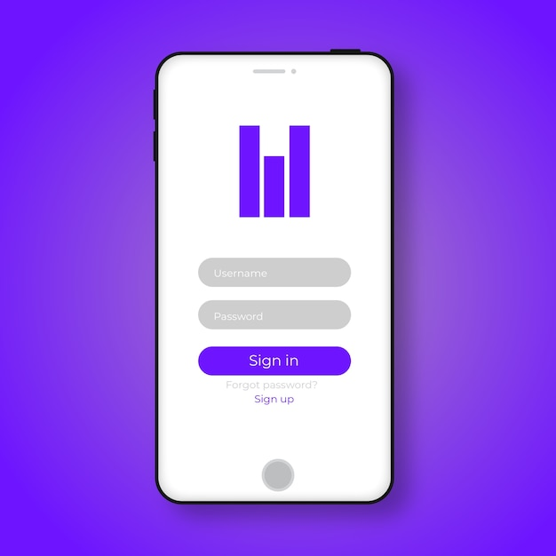 Mobile ui design concept login application with password ...
