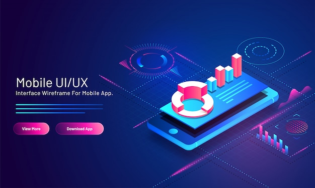 Mobile ui/ux  based isometric landing page  with financial info graphic app in smart phone on blue digital . Premium Vector