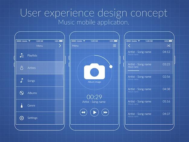 さまざまな画面とweb要素を備えたモバイルユーザーエクスペリエンスのデザインコンセプト 無料ベクター