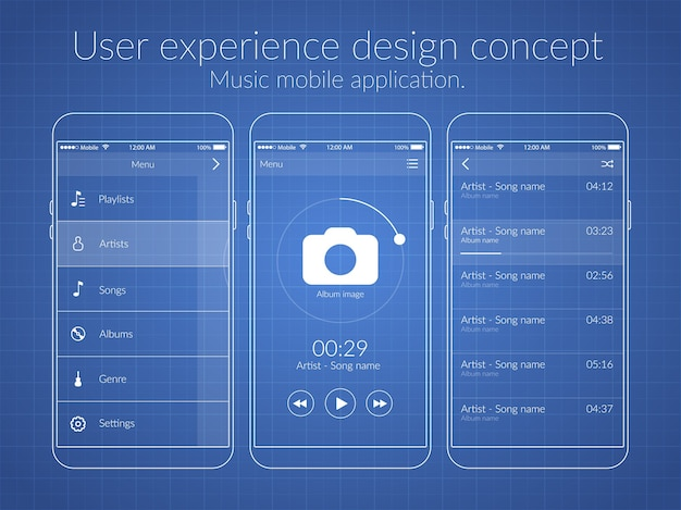 Mobile user experience design concept with different screens and web elements Free Vector