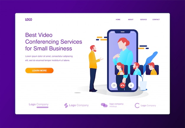Mobile video conference illustration concept for website or landing page Premium Vector