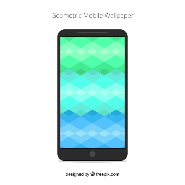 Mobile wallpaper of geometric shapes in flat design