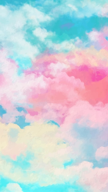 Mobile wallpaper with watercolor sky Free Vector