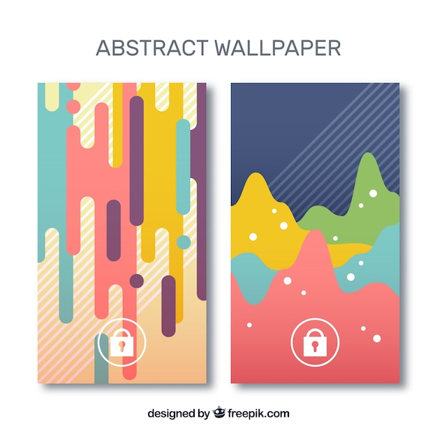 Mobile wallpapers with abstract shapes in flat design