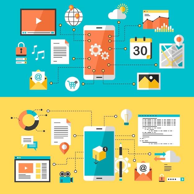 フラットデザインのモバイルウェブサイトとアプリのデザイン Premiumベクター