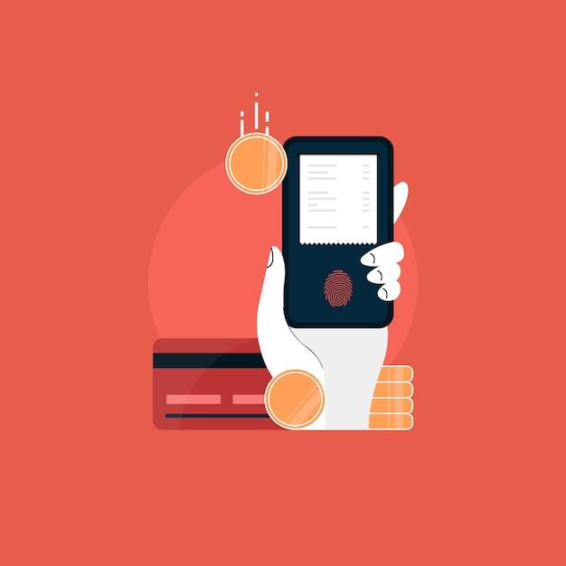 전자 송장으로 모바일. 온라인 결제 개념. 카드, 인터넷 뱅킹 및 전자 지갑을 통한 인터넷 지불 및 지불 영수증 프리미엄 벡터
