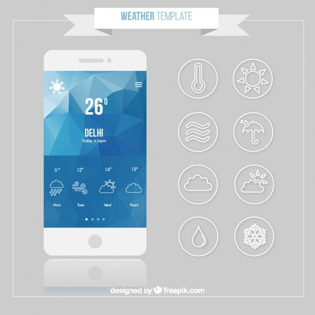 Mobile with weather forecast app
