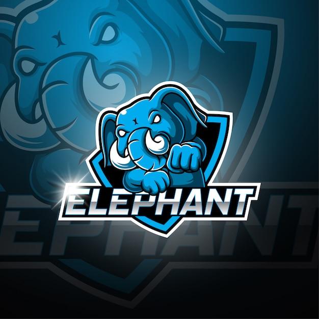 Логотип талисмана mobileelephant esport Premium векторы
