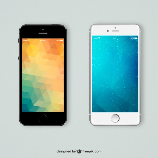 Mobiles phones with polygonal backgrounds Free Vector