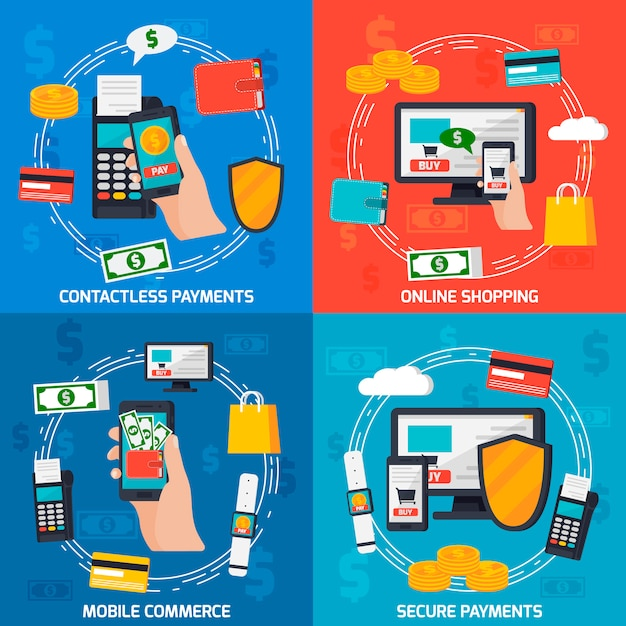 Moblie payments design concept Free Vector