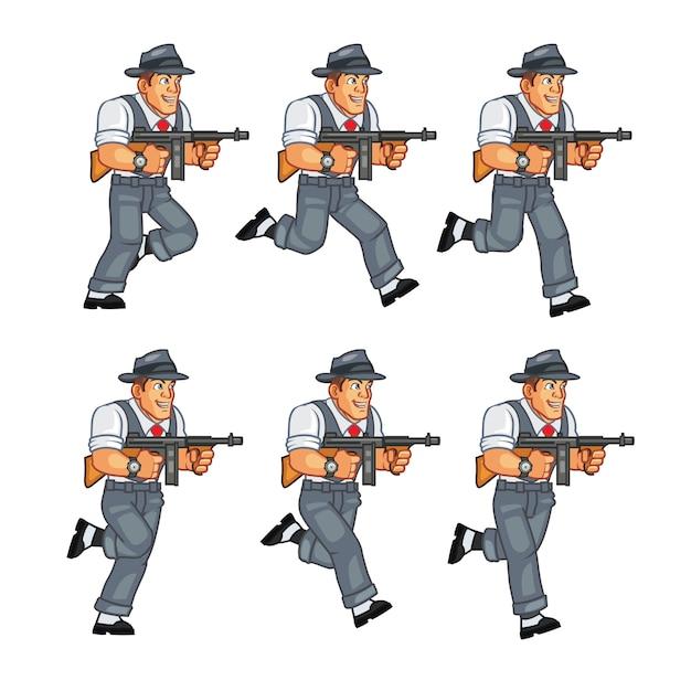 Mobster gunman game sprite Premium Vector