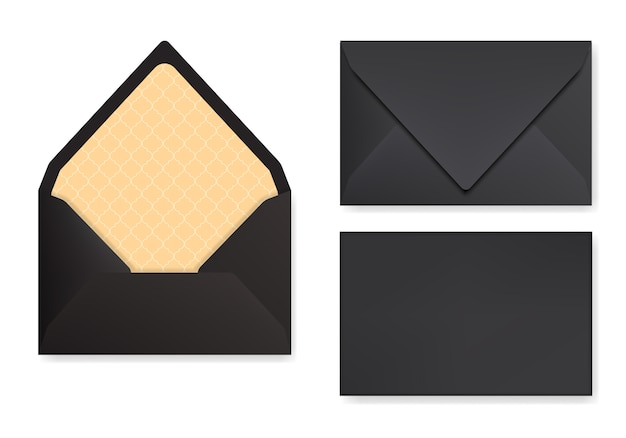 Mock-up of black envelope with triangle flip. front view, closed and opened back side Premium Vector