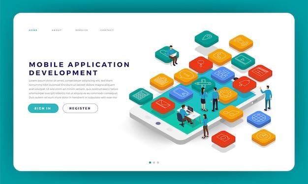 Mock-up design website flat design concept mobile app development with developer coding Premium Vector