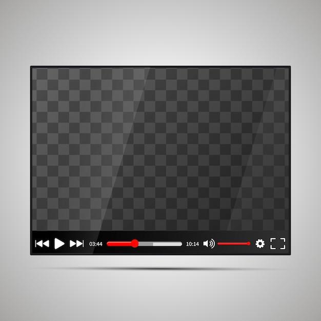 Макет глянцевого видеоплеера с прозрачным местом для экрана Premium векторы
