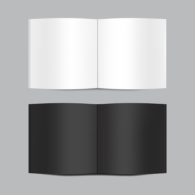 Mock up of open white and black blank book isolated on grey background. horizontal realistic magazine, booklet, brochure or notebook template for your design. Premium Vector