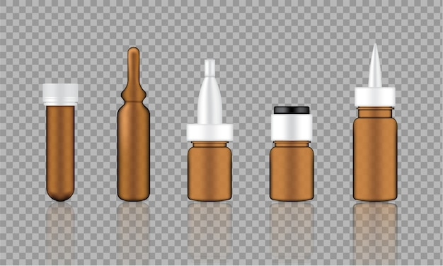Mock up realistic amber cosmetic serum Premium Vector