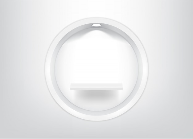 Mock up realistic empty circle shelves Premium Vector