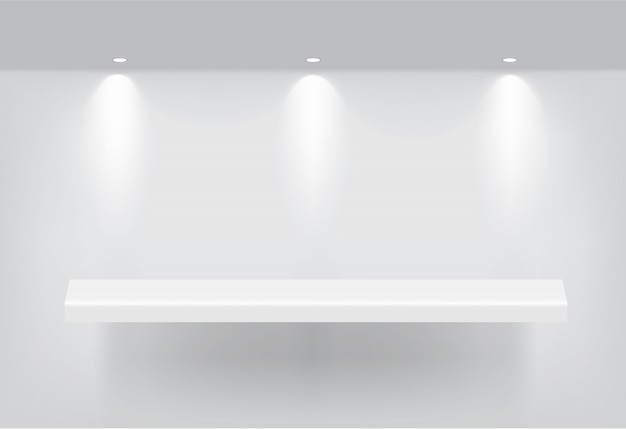 Mock up realistic empty shelf for interior to show product Premium Vector