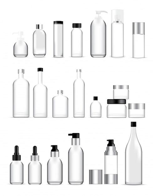 Mock up realistic glass bottles Premium Vector