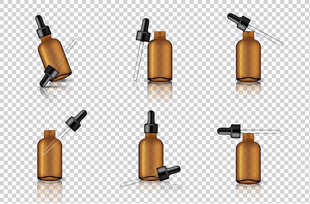 Mock up realistic transparent amber dropper bottle Vector